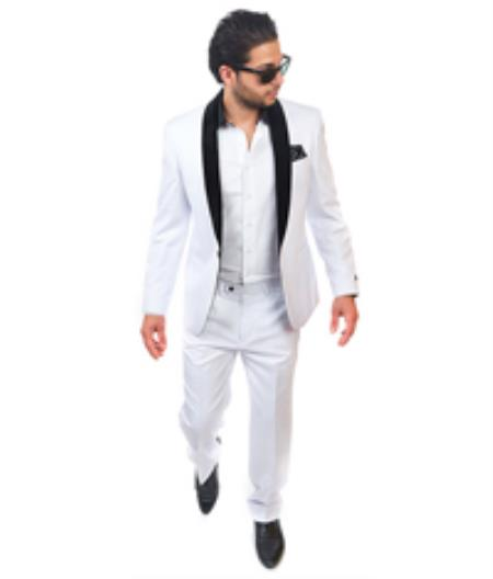 Product# VA2D4S Slim narrow Style Fit 1 Button Style Shawl Velvet Collar Suit White Clearance Sale Online
