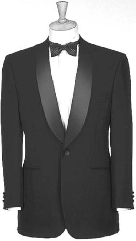 Product# Y713GA Liquid Jet Black Dinner Jacket 100% Poly 1 Button Style Shawl Collar