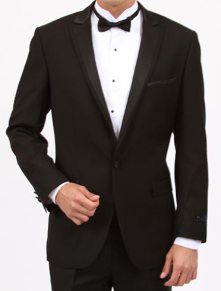 Product# QK6792 Tapered Leg Lower Rise Pants & Get Skinny Peak lapel flat front pants 1 Button Style Slim narrow Style Fit Liquid Jet Black 1920s tuxedo style