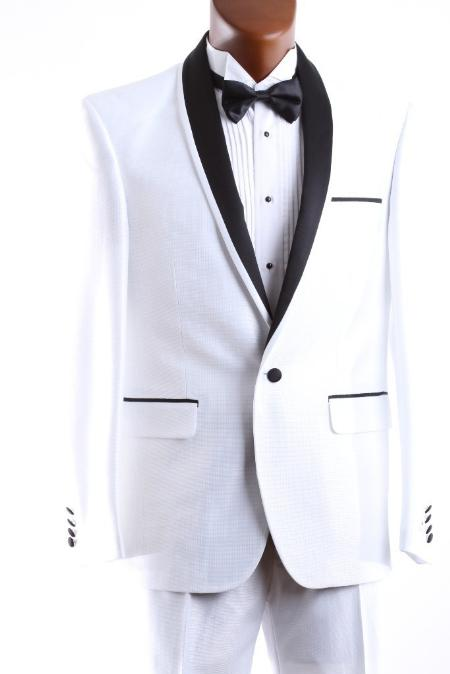 Product# WHT666 1 Button Style White 3 Pcs Vested Tuxedo Slim narrow Style Fit Clearance Sale Online