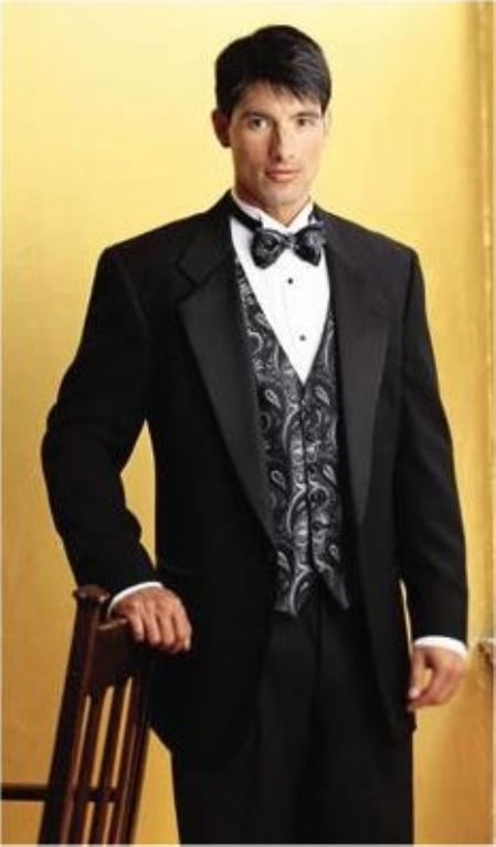 Superior Fabric 150'S 1 Button Style Liquid Jet Black TUXEDO EXTRA FINE WITH FRENCH PIPING