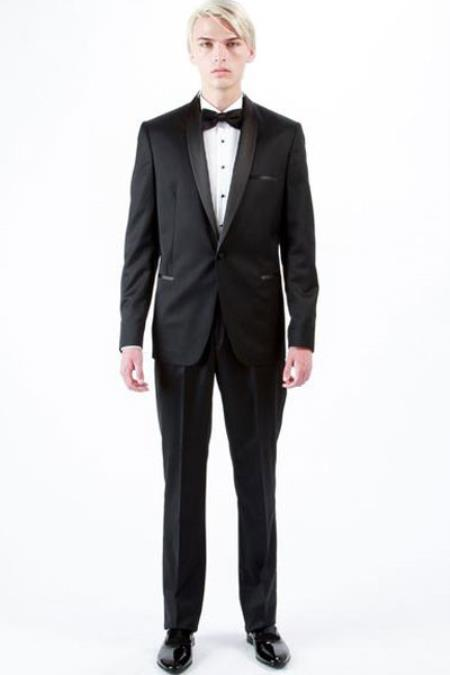 Product# SM1336 1 Button Style Shawl Lapel Wool Fabric Tuxedo Liquid Jet Black Slim narrow Style Fit Single Breasted Suit Clearance Sale Online