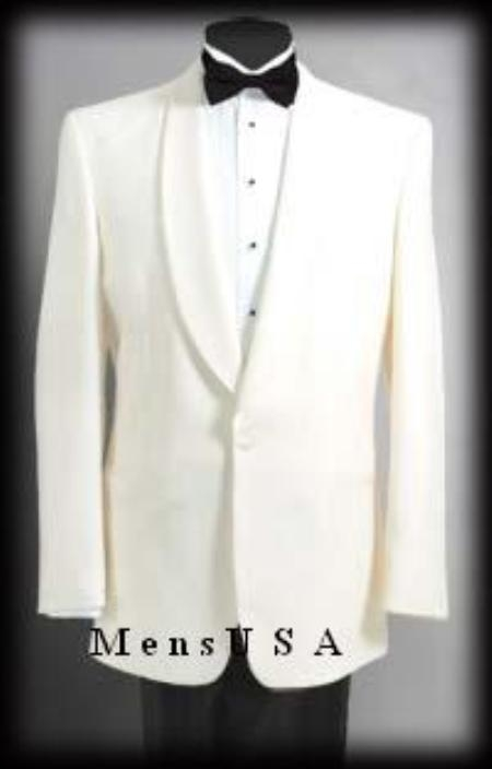 Product# 84C 1 Button Style Shawl Lapel Dinner Jackets - Ivory (Cream ~ Ivory ~ Off White)100% Tropical Wool Fabric