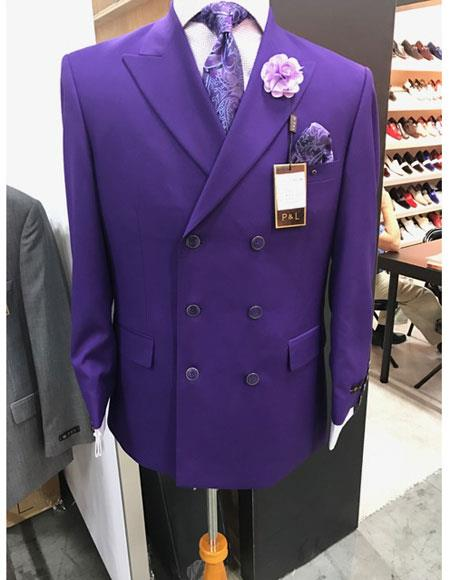 Mens Purple Double Suit