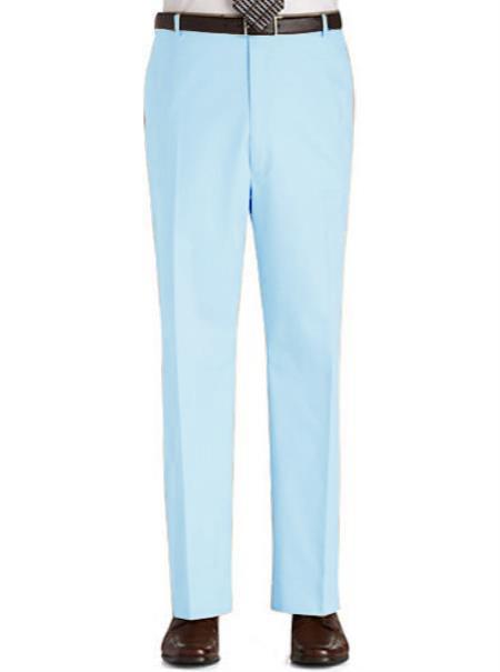 Product# SK6Y Stage Party Pants Trousers Flat Front Regular Rise Slacks - Light Blue ~ Sky Blue