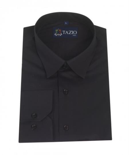Product# UN4875 Dress Shirt Slim narrow Style Fit Liquid Jet Black