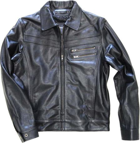 Zip Front Genuine Leather
