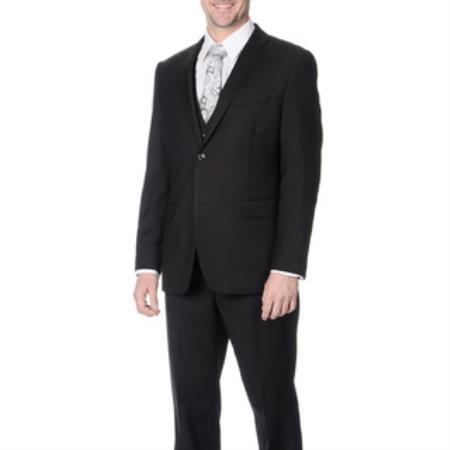 Tapered Leg Lower rise Pants & Get skinny Fiited Skinny Lapel Europian Flat Front Pants Slim narrow Style Fit Liquid Jet Black Vested Suit
