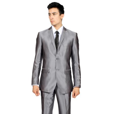 Slim Fit Grey Shiny Suit