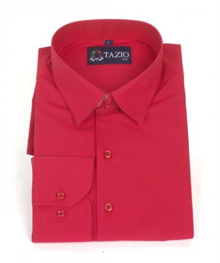 Product# RF4896 Dress Shirt Slim narrow Style Fit red color shade