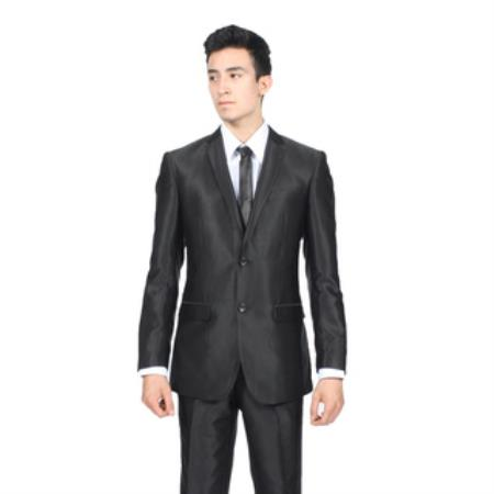 AB143 Slim narrow Style Fit Shiny Liquid Jet Black Sharkskin Suit