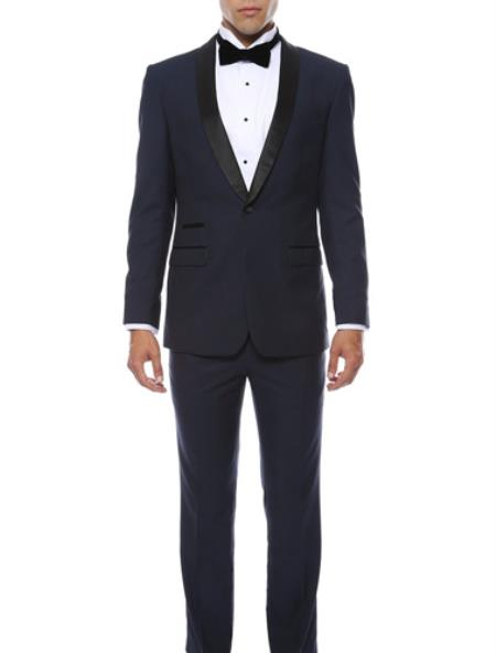 Product# MK460 Slim narrow Style Fit 1 Button Style Shawl Collar Dinner Jacket Blazer Online Sale Sport Coat Liquid Jet Black Lapeled Matching Pants Navy Blue Shade With Liquid Jet Black Clearance Sale Online
