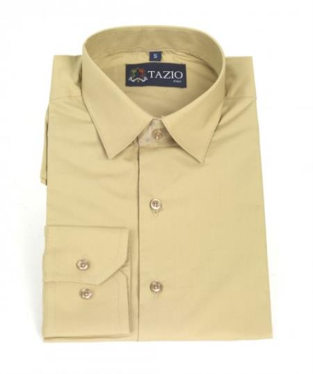 Product# KA9931 Dress Shirt Slim narrow Style Fit -Tan khaki Color