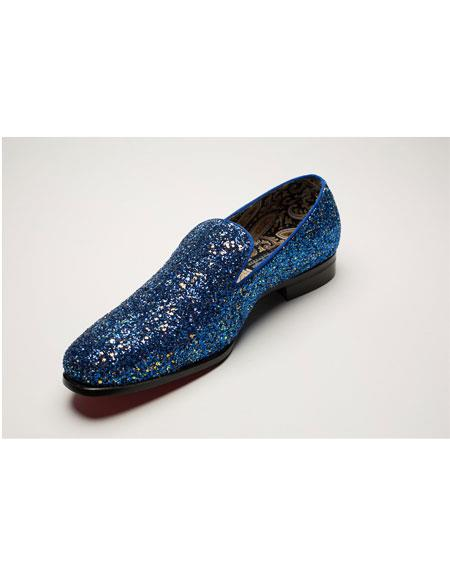 Men's Slip On Blue Shiny Fashionable Loafer Shoes