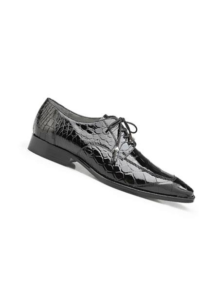Mens Black Genuine Alligator
