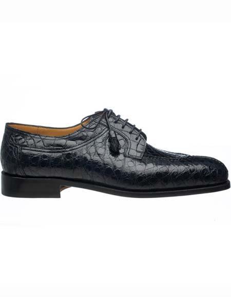 Men's Ferrini Genuine Alligator Tasseled Laces Leather Split Toe Navy Shoes