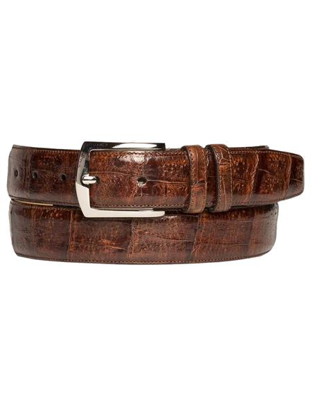 Product# JA255 Mezlan Brand Men's Genuine Crocodile Sport Rust Skin Belt