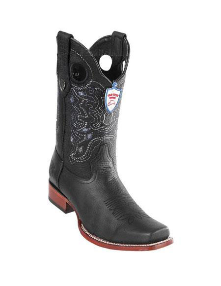 Product# JSM-5299 Men's Black Wild West Genuine Rage Cowboy Leather Square Toe Boots Handmade