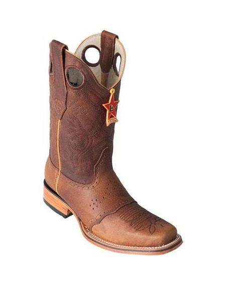 Men's Los Altos Boots Square Toe Honey Boots With Saddle Rubber Sole Handmade