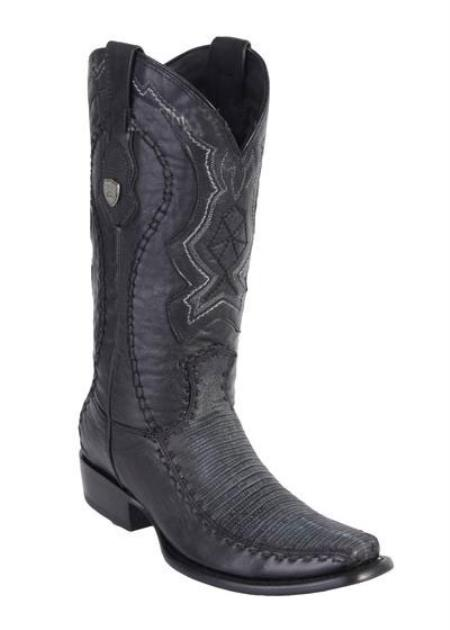 Product# JSM-4218 Men's Sanded Black Dubai Square Toe Wild West Genuine Lizard Handcrafted Boots