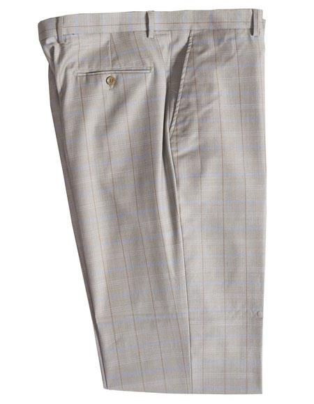Product# JSM-5386 Mens Stone 100% Wool Plaid Pattern Dress Pants