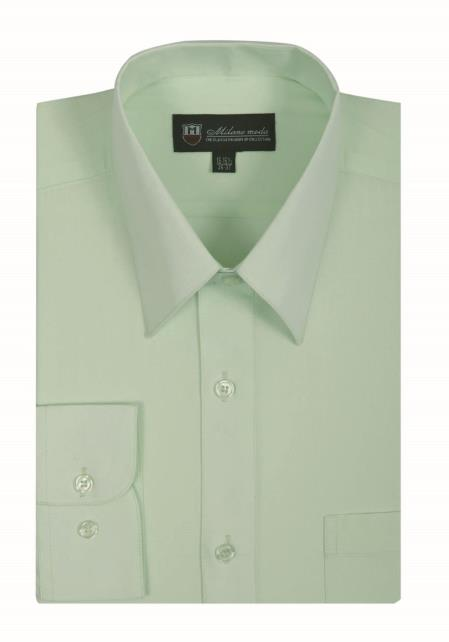 Mens lime classic fit straight collar dress shirt Straight collar dress shirt