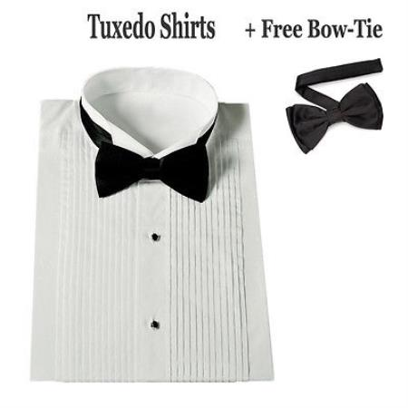 Product# CY-2837 Stylish Tuxedo Dress Shirt Wing Collar with Bow-Tie Set White