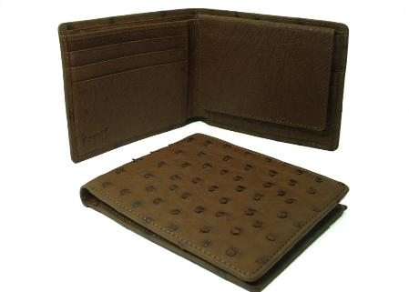Product# GNK7891 Ostrich Wallet - Kango Tabac ID Holder Bifold