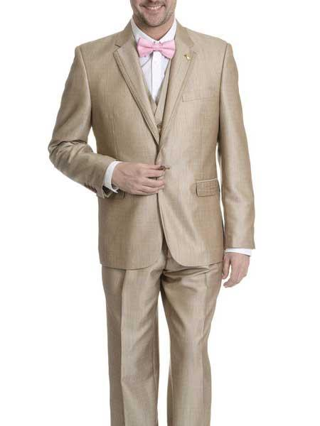 Tan Tuxedo - Khaki Tuxedo Falcone Suit Brand 1 Button Style V-neck Tan khaki Color Single Breasted Tuxedo