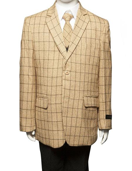 Product# GD1522 Boys ~ Kids ~ Children Toddler Plaid ~ Windowpane Pattern Vested Suit 3 Peice Taupe/Black Matching Shirt & Tie