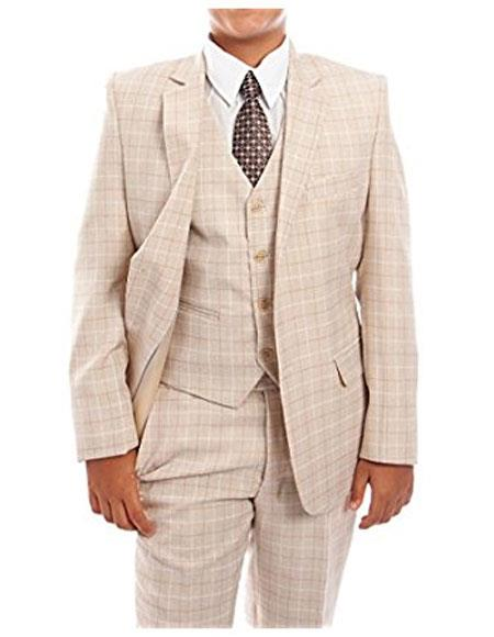 Product# CH1715 Boys 3-Piece Check Tuxedo Taupe Boys And Men Suit Set With Matching Shirt & Tie