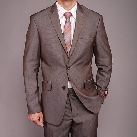 Product# TH6869 European Skinny Notch Lapel No Pleated Slacks Pants Taupe Birdseye 2-button Slim-fit Suit