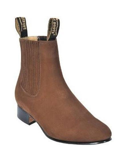 Product# JSM-5570 Los Altos Charro Botin Short Ankle Deer Taupe Leather Boots For Men