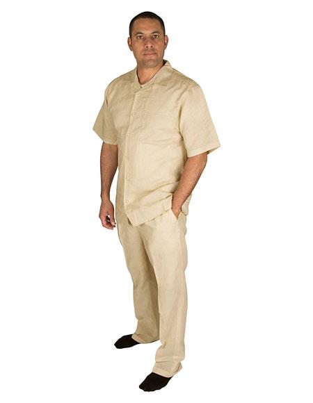 Mens Taupe Short Sleeve