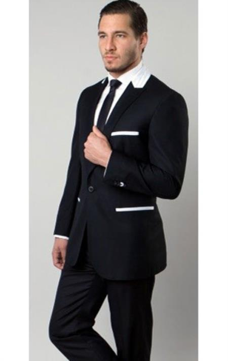 Product# SM1312 Liquid Jet Black Tazio Brand 1 Button Style Two Toned Trimmed 1920s tuxedo style Peak Lapel Slim narrow Style Fitted Suit Clearance Sale Online