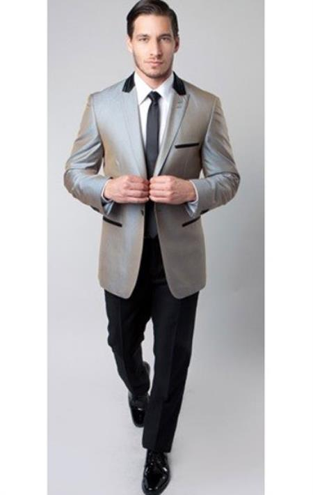 Product# SM1319 Tazio Brand 1 Button Style Peak Lapel Two Toned Trimmed Silver 1920s tuxedo style Slim narrow Style Fitted Suit Clearance Sale Online