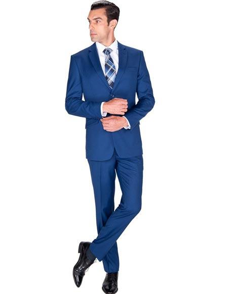 Men's Big and Tall Sizes Cobalt Blue Indigo Suit