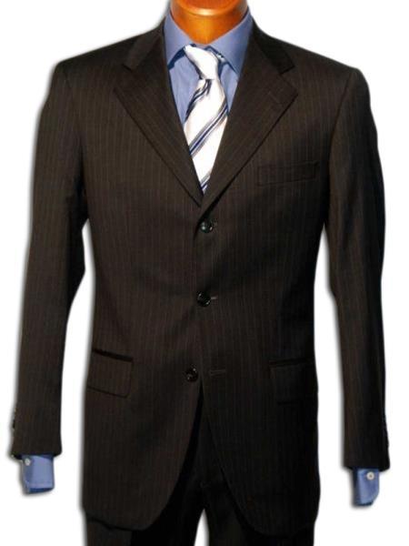 Strictly Business Liquid Jet Black 3 Button Style Liquid Jet Black mini narrow pinstripe Wool Fabric feel poly~rayon Suit w/Gorgeo