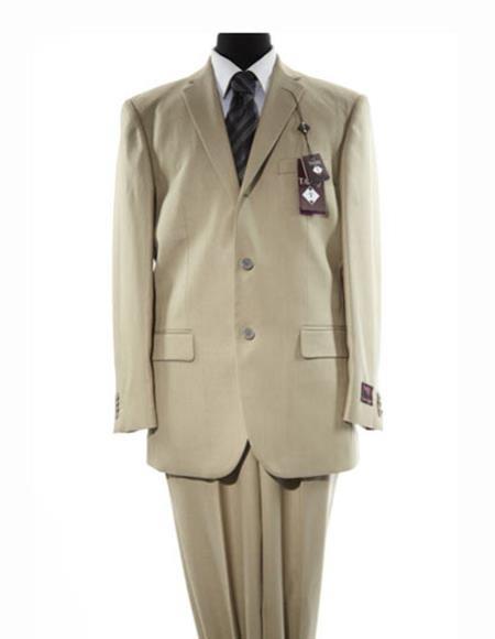Product# JSM-2618 Men's 3 Button Beige Single Breasted Notch Lapel Solid Beige Suit