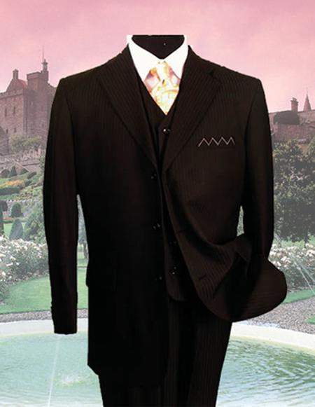 SKU36240 SM-08 Liquid Jet Black PINSTRIPE three piece suit