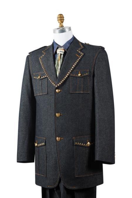 Product# JA85 Mens Naval Style Brass Accent Black Flap Pocket Zoot Set