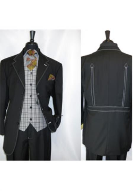 Product# JSM-1421 Men's 3 Button Fortino Landi Black Vested Single Breasted Suit Jacket