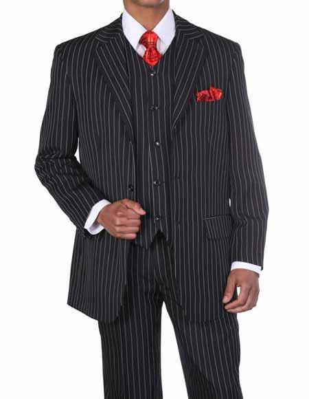 JSM-335 Mens 3 Button Black/White Vested Pinstripe ~ Stripe