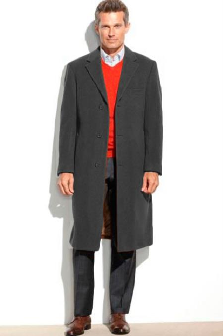 Mens 95% Wool Overcoat