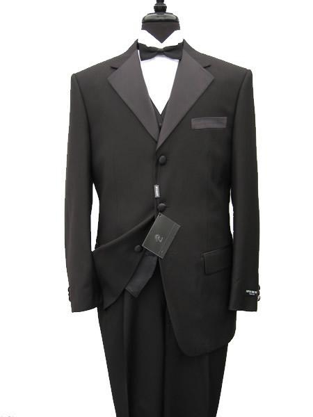 premier quality italian fabric Vested Tuxedo Superior Fabric 150's Wool Fabric Jacket + Pants + Shirt + Bow Tie