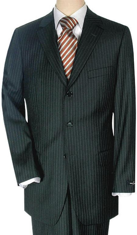Product# F4489 Lightweight Worsted Wool Fabric Small Liquid Jet Black 'Travelor' Small Mini Pinstripe