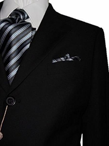 Product# SM4881 Bertolini Notch Lapel 3 Button Solid Black Wool & Silk Blends Suit