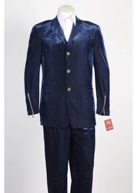 Mens 3 Button Blue