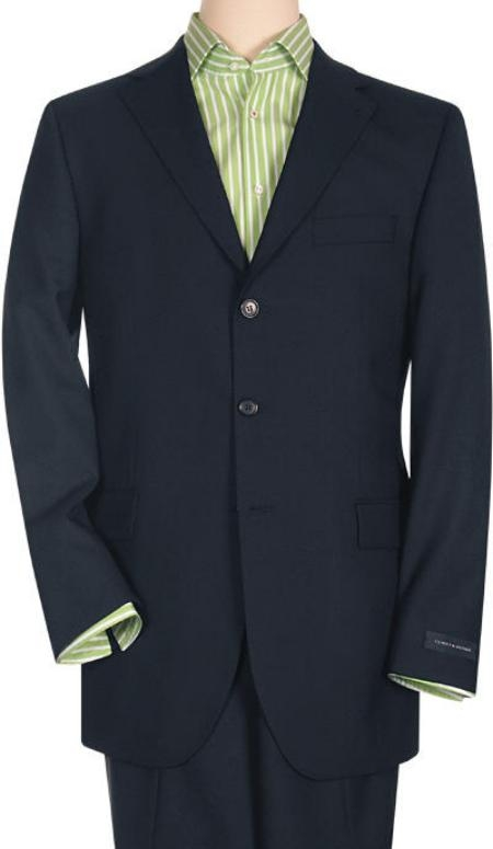 Tesso Dark Blue premier quality italian fabric 3 Button Style Superior Fabric 150's Wool Fabric