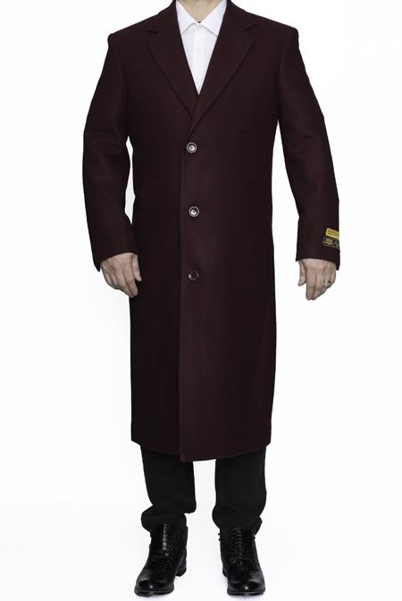 Product# SM4806 Mens Full Length Wool Dress Top Coat / Overcoat in Burgundy Authentic Reg:$700 Designer Alberto Nardoni Best Mens Italian Suits Brands now on Sale